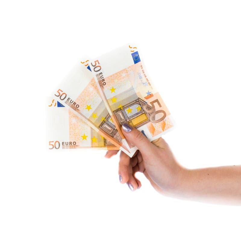 举行金钱欧洲流通票据的与非 库存照片