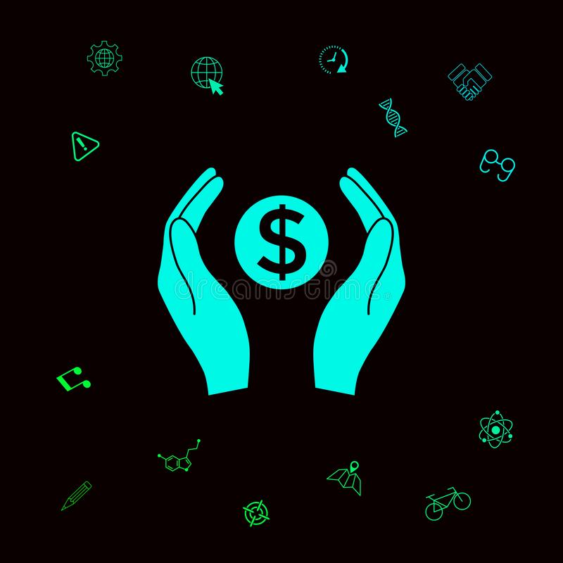 举行金钱美元标志的手 您的designt的图表元素 向量例证