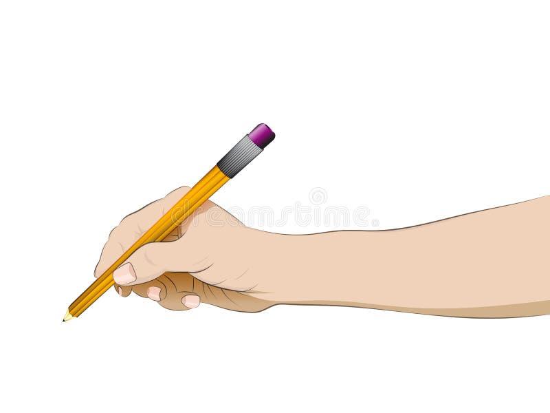 举行铅笔传染媒介的被隔绝的人的手侧视图 皇族释放例证