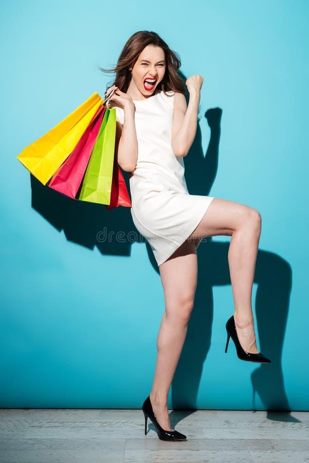 举行购物袋和庆祝的一名满意的妇女的画象 免版税库存图片