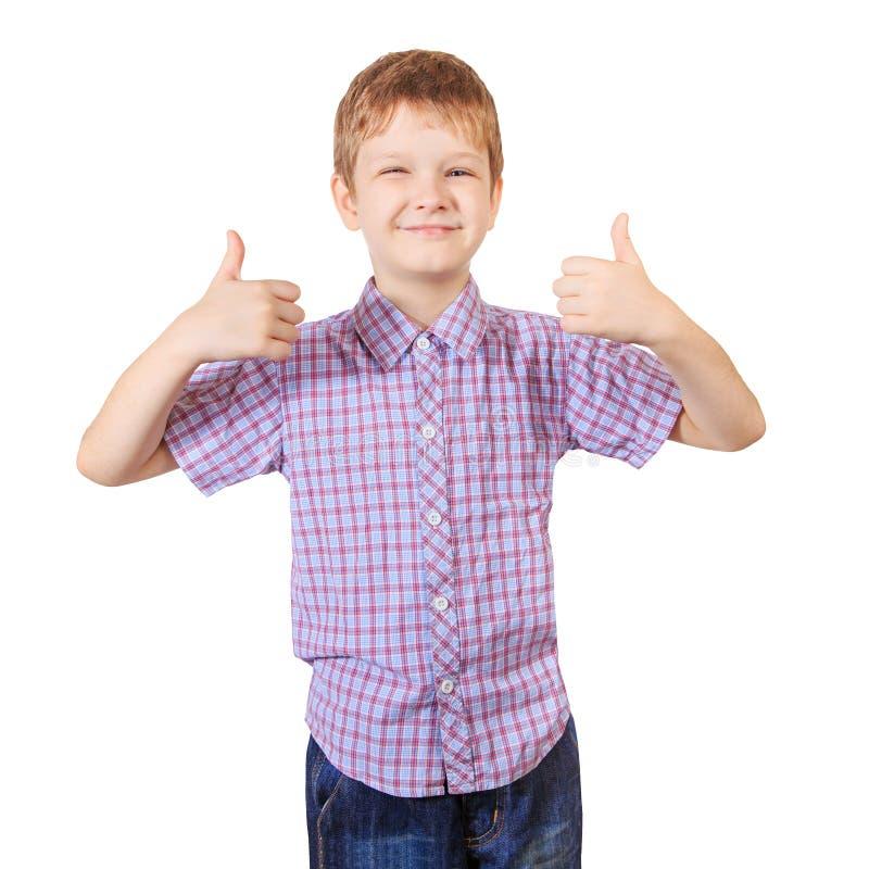 举行他的赞许的微笑的男孩 查出在白色 免版税图库摄影