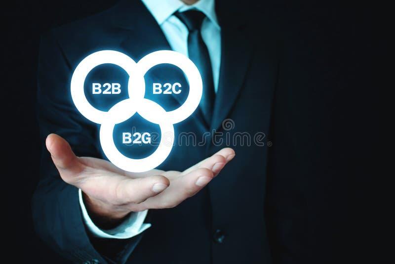 举行B2B, B2C, B2G业务模式的商人 浓缩的事务 免版税图库摄影