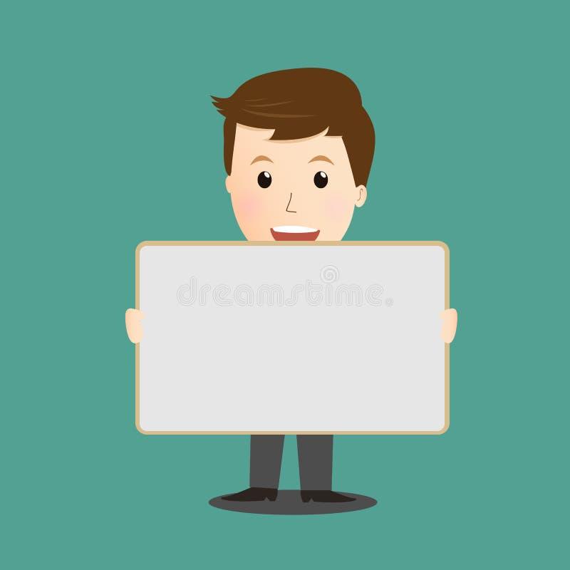 举行whiteboard的商人传染媒介 库存例证
