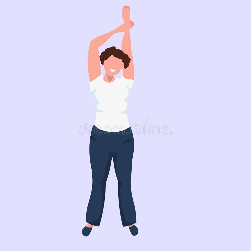 举身分的肥胖妇女手摆在肥胖母摆在平展全长的卡通人物微笑的女孩 向量例证