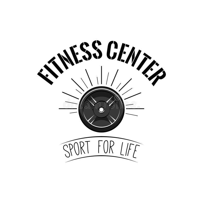 举重, powerlifting的板材象 健身中心象征商标标签 杠铃盘徽章 运动器材 向量 向量例证