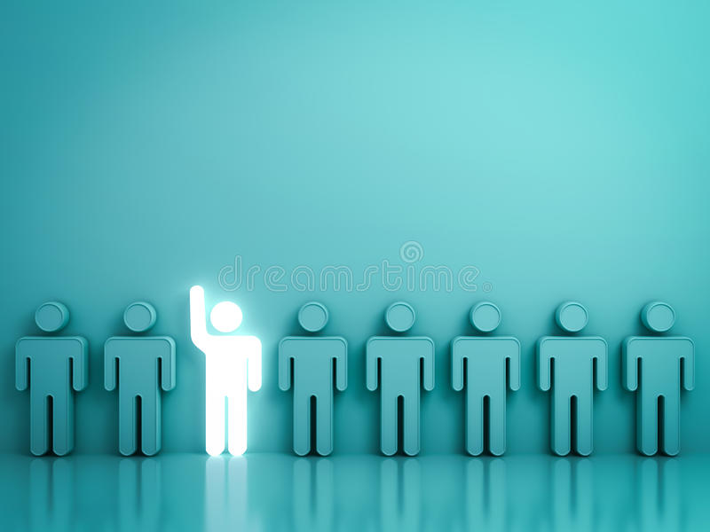 举他的手在绿色的其他人民中的一个发光的轻的人 向量例证