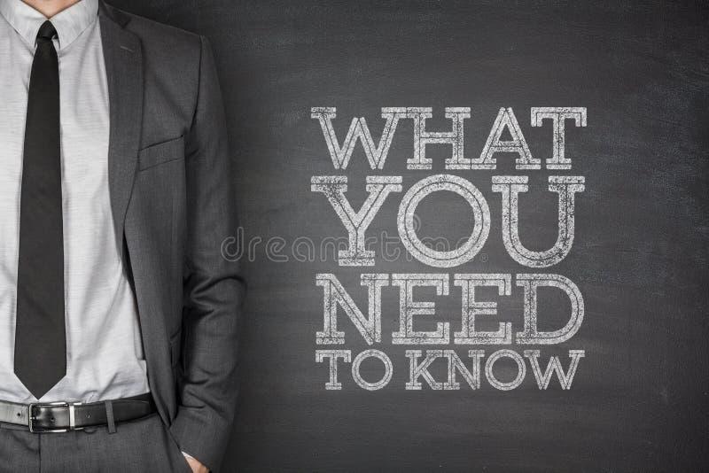 什么您在黑板需要认识 免版税库存照片