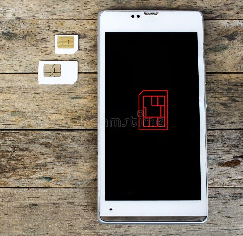 什么是sim卡片的类型在您的流动,巧妙的电话, bla可能使用 库存图片