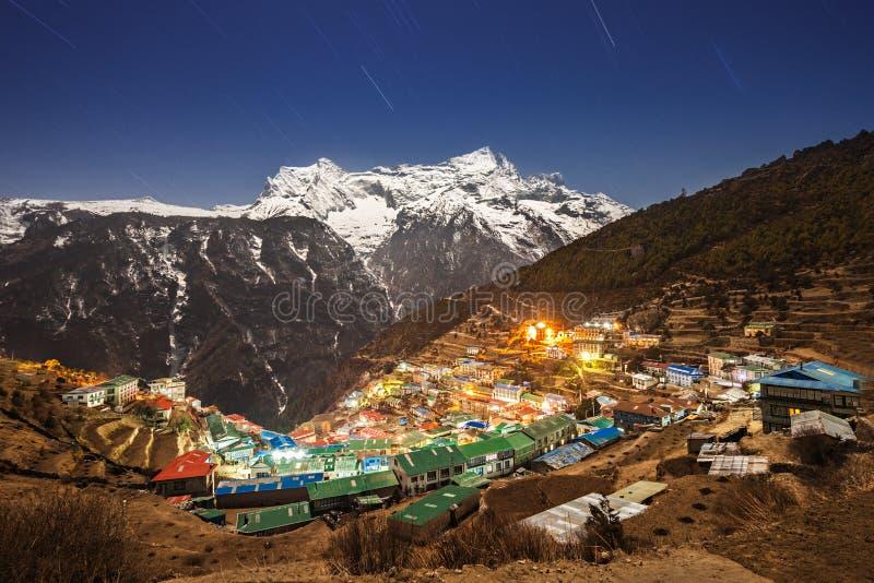 义卖市场namche尼泊尔 免版税图库摄影