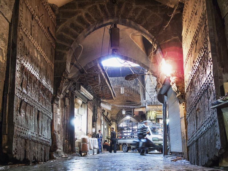 义卖市场souk农贸市场在阿勒颇老镇叙利亚 库存照片