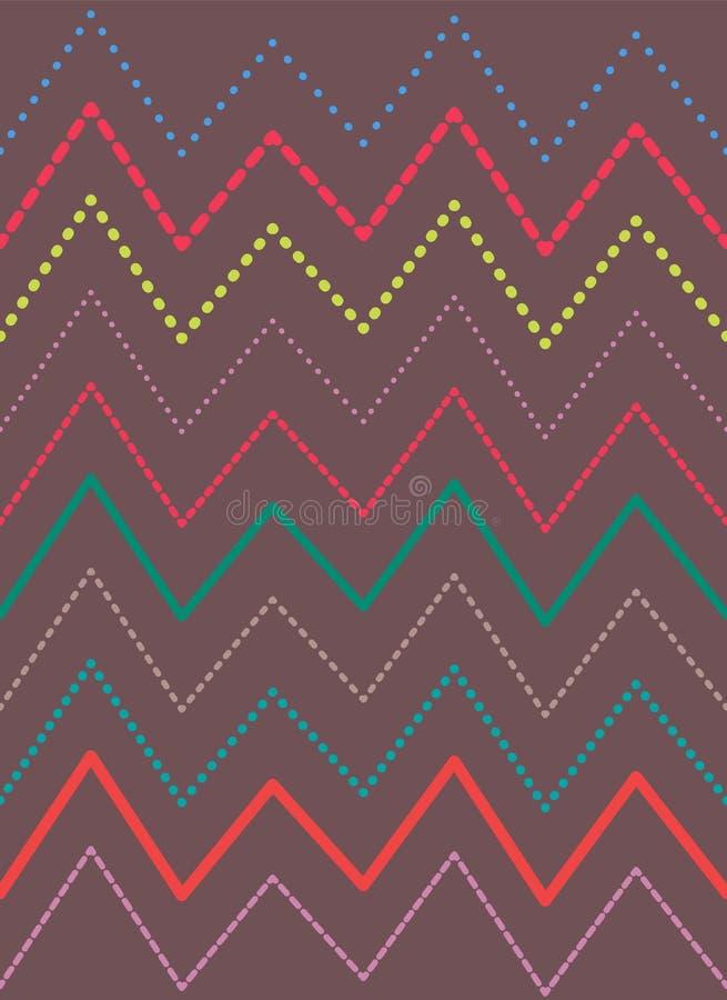 之字形明亮的五颜六色的线样式,传染媒介背景 向量例证
