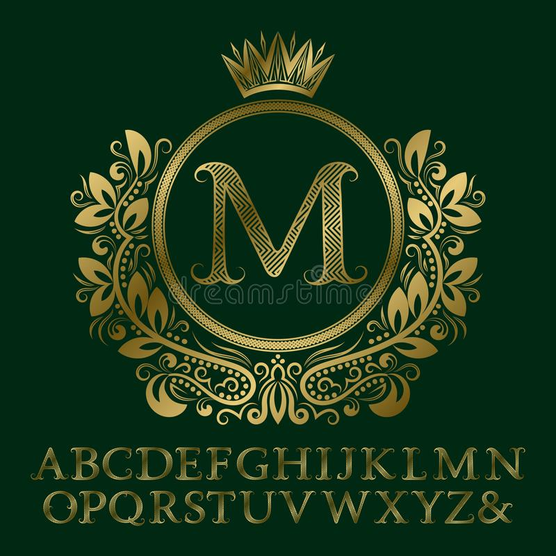之字形镶边了金信件,并且在徽章的最初的组合图案形成与冠 商标的典雅的字体和元素成套工具 库存例证