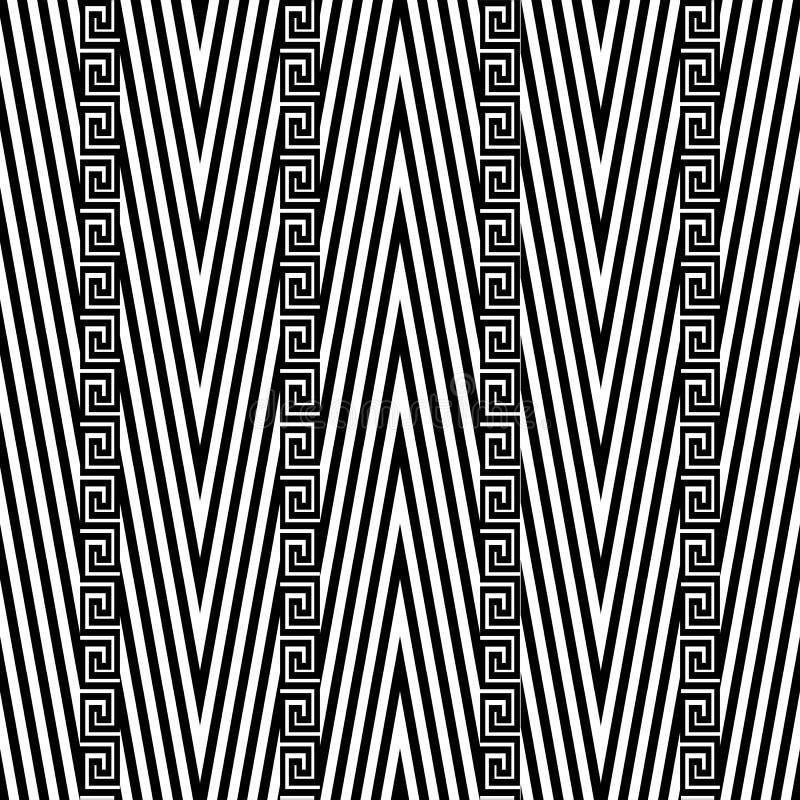 之字形V形臂章传染媒介无缝的样式 黑白geometri 向量例证