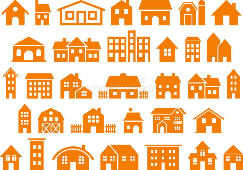 之家和大厦图标 库存例证