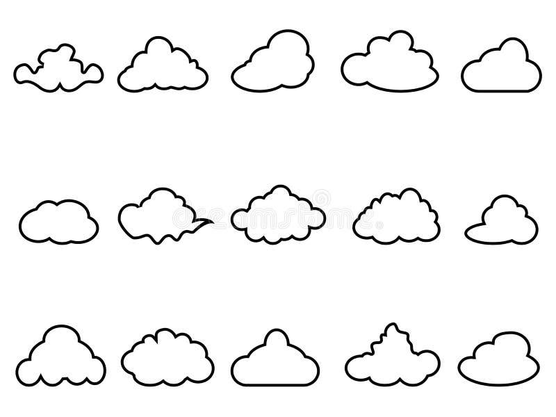 乌云被设置的概述象 库存例证