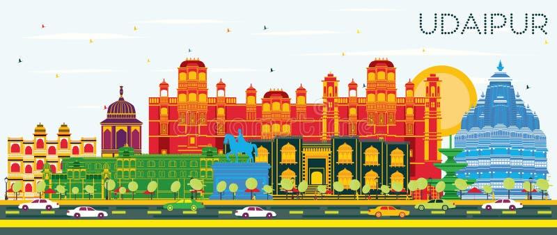 乌代浦印度与颜色大厦和蓝天的市地平线 库存例证