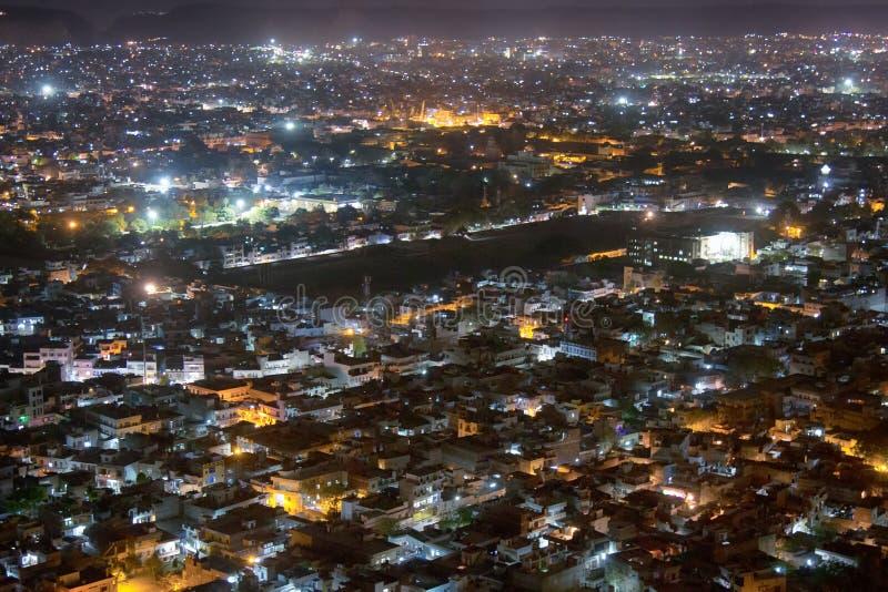 乌代浦市夜鸟瞰图  图库摄影