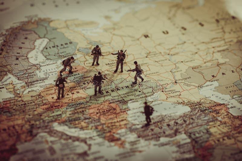 乌克兰、俄罗斯和eurounion国家军事冲突 Geopo 库存照片