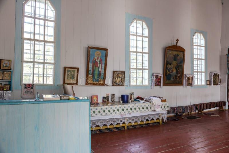 乌克兰东正教莫斯科主教的职位的内部 乌克兰,傲德萨地区,科德马,2012年,法坛,圣障 免版税库存照片