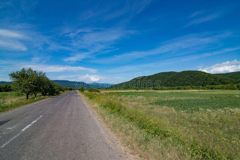 乌克兰乡下公路在夏天 免版税库存照片