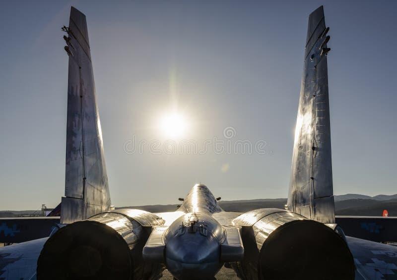 乌克兰人苏霍伊Su27侧面部队航空器 库存照片