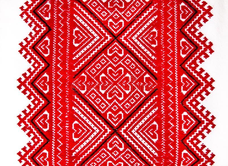乌克兰传统全国红色和黑装饰品刺绣 免版税库存图片