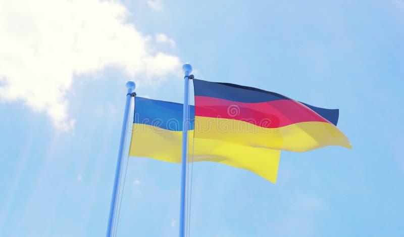 乌克兰和德国,挥动反对蓝天的旗子 库存例证