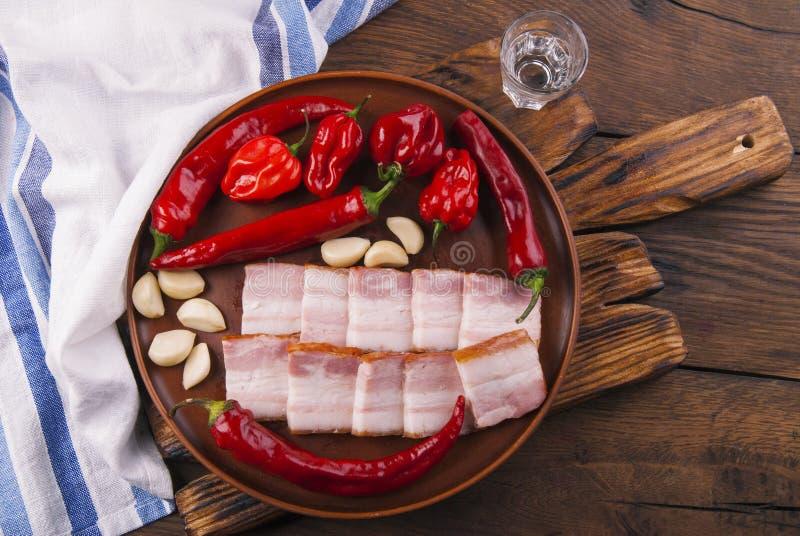 乌克兰培根和红胡椒 库存图片