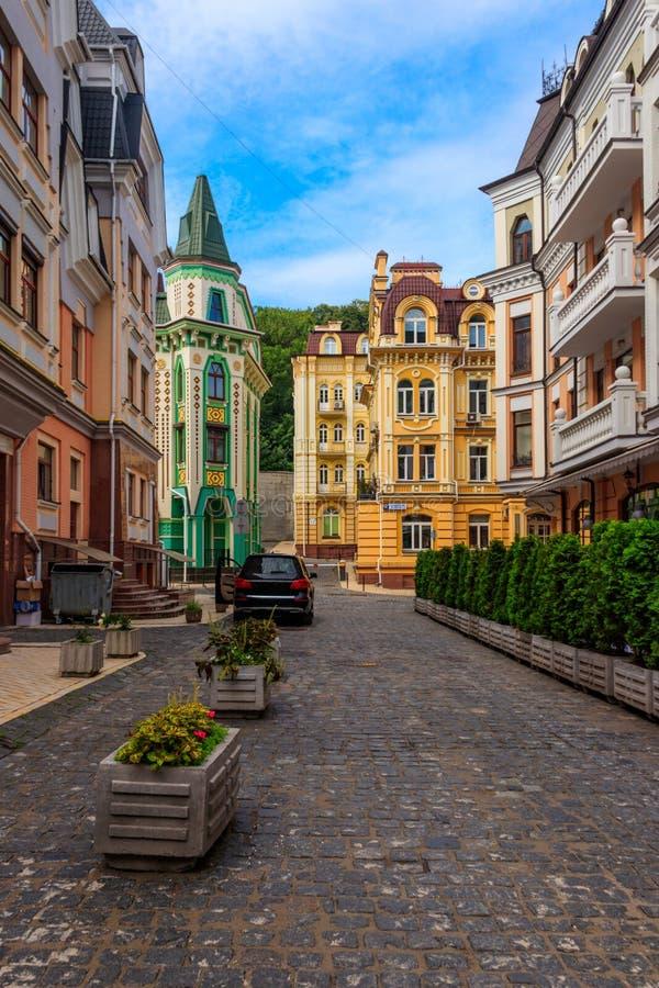 乌克兰基辅Vozdvizhenka精英区五彩缤纷的房子 图库摄影
