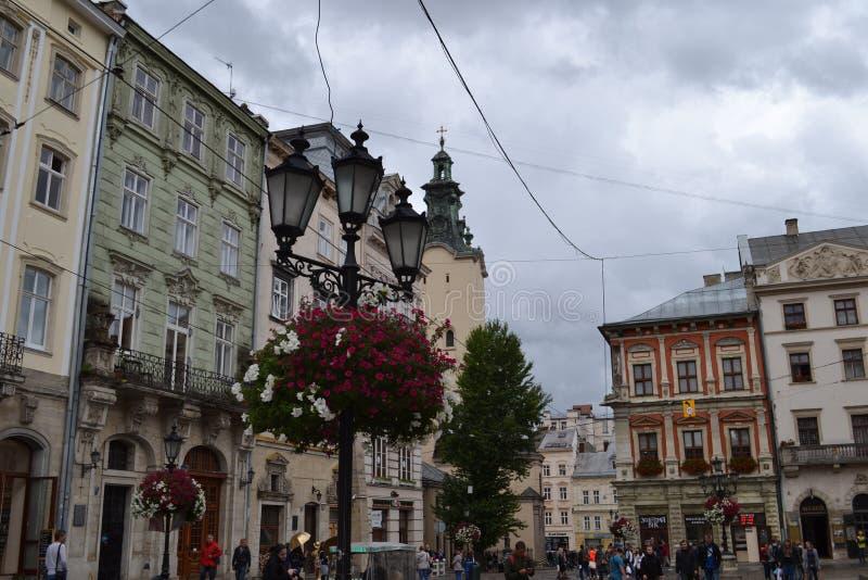 乌克兰市利沃夫州 城市的视图 库存图片