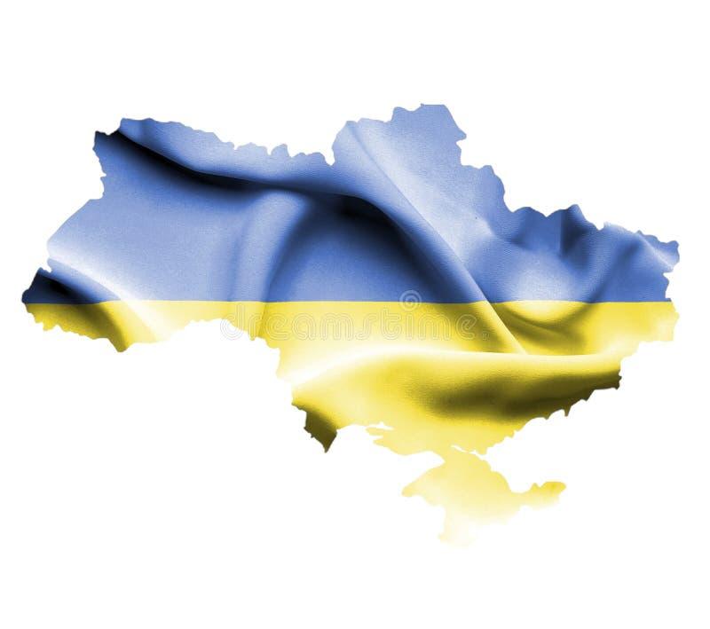 乌克兰的地图有在白色隔绝的挥动的旗子的 向量例证