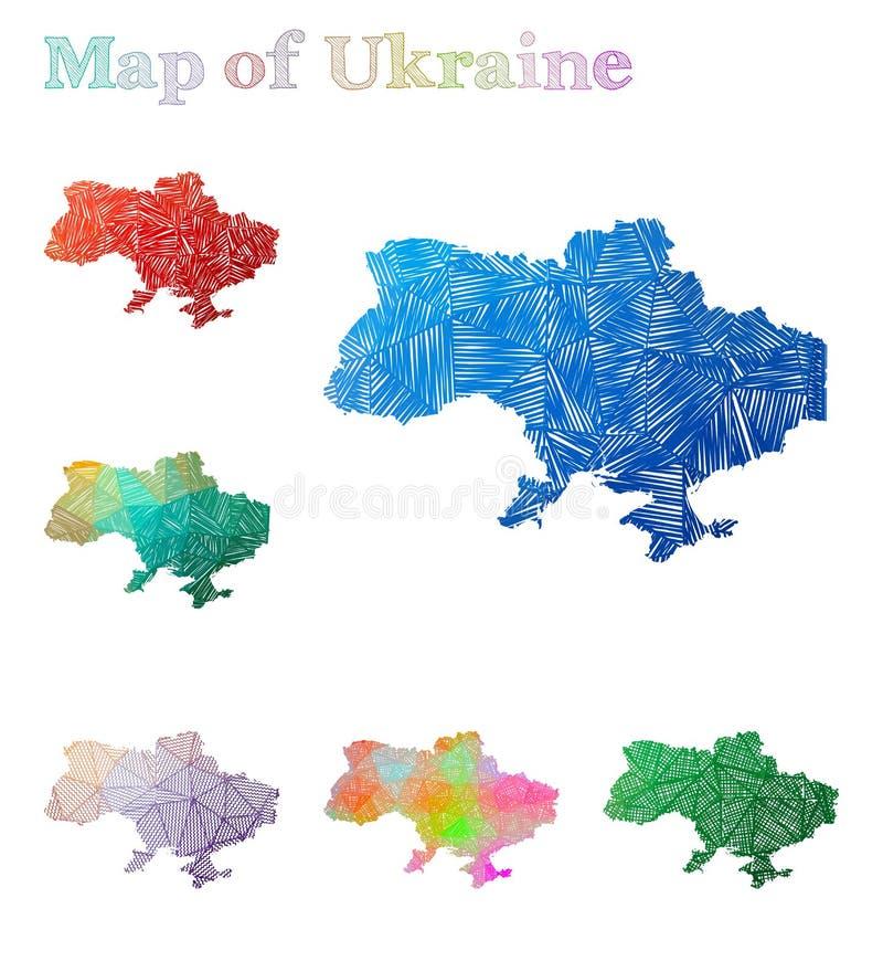 乌克兰的手拉的地图 皇族释放例证