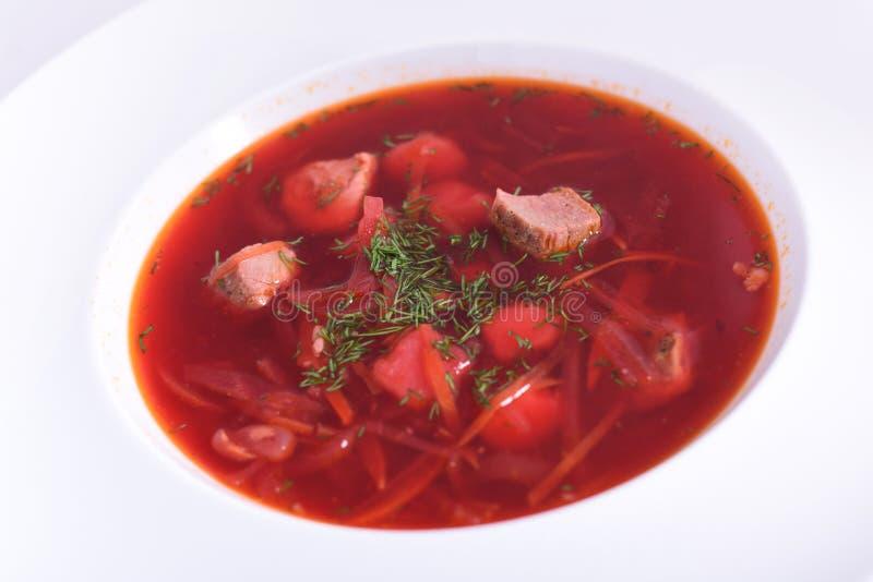 乌克兰罗宋汤特写镜头用肉-全国盘 库存图片