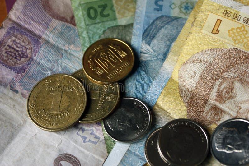 乌克兰金钱、hryvnias和kopeks,特写镜头,20,50,5,1 hryvnia 库存照片