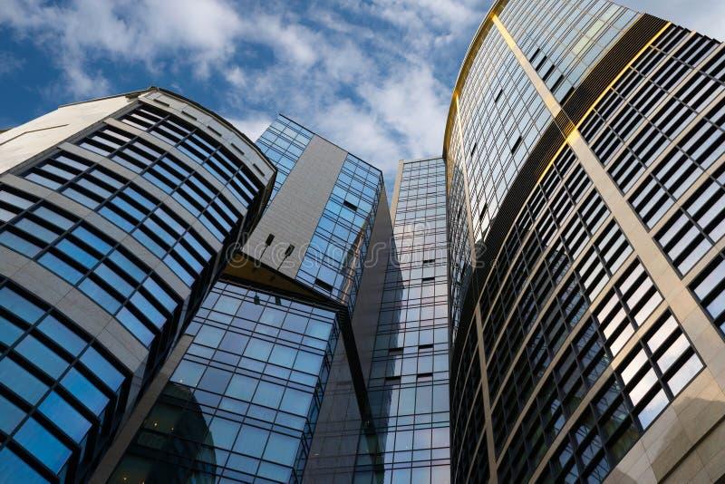 乌克兰,基辅,- 2018年5月19日:现代办公楼是中心的事务 免版税图库摄影