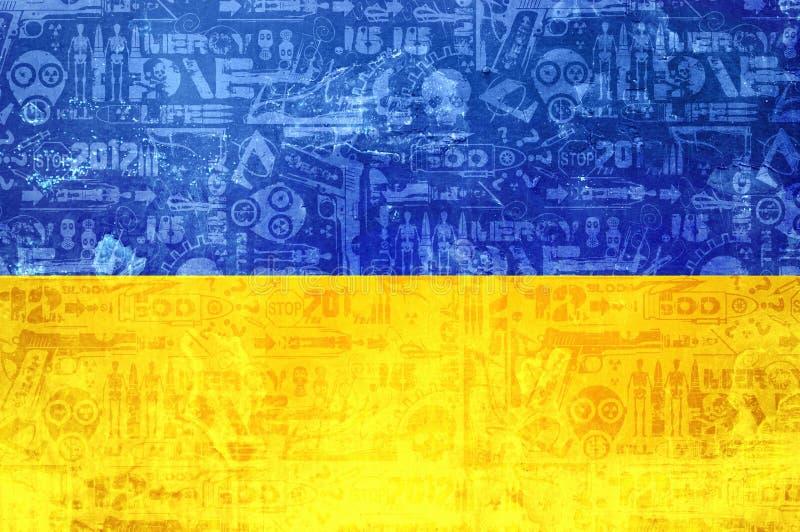 乌克兰-抽象冲突新闻背景的旗子 皇族释放例证