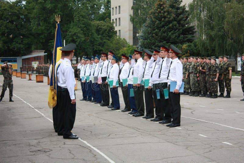 乌克兰 普通的年轻军事在哈尔科夫立下一个誓言 免版税库存照片