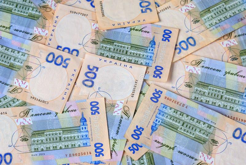乌克兰hryvna、钞票500 hryvnia、金钱礼物的背景、概念和购物 库存照片