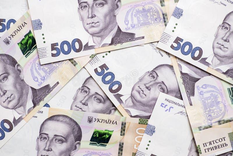 乌克兰hryvna,钞票500 hryvnia 由500张hryvnia票据的财政背景 金钱背景 免版税库存图片