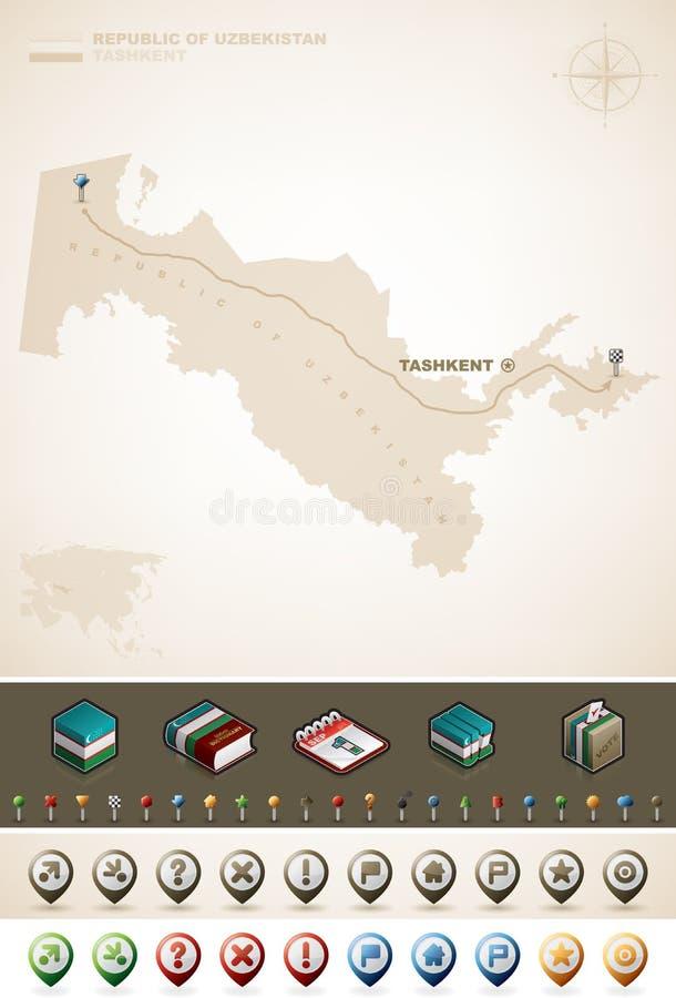 Download 乌兹别克斯坦共和国 向量例证. 插画 包括有 蓝色, browne, 符号, 指南针, 红色, 投反对票 - 30337478