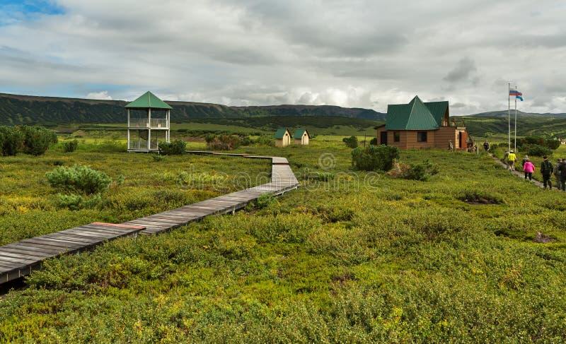 乌宗火山破火山口的管理 克罗诺基火山在堪察加半岛的自然保护 库存图片