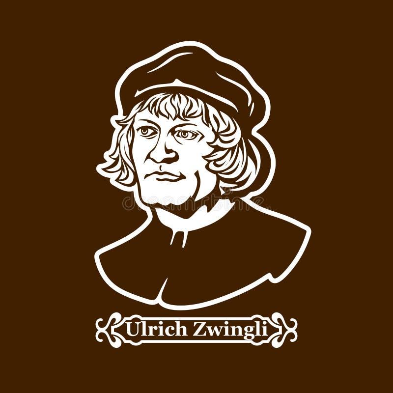 乌尔里克Zwingli 新教 欧洲改革的领导 向量例证