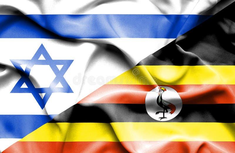 乌干达和以色列的挥动的旗子 库存例证