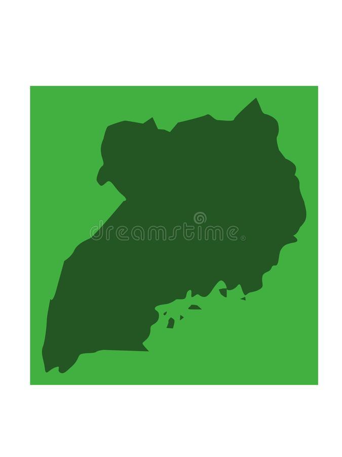 乌干达地图-国家在位于东部中心位置的非洲 库存例证