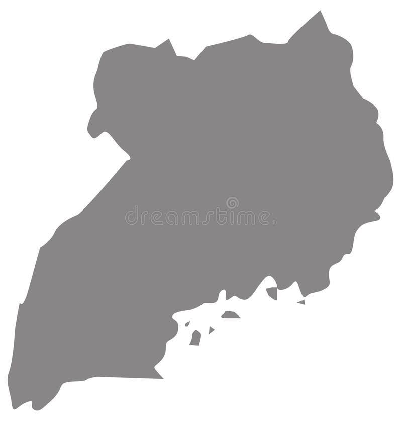 乌干达地图-国家在位于东部中心位置的非洲 向量例证