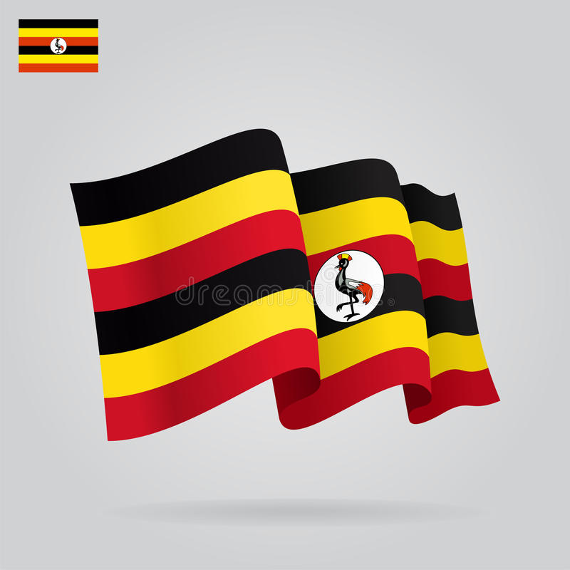 乌干达挥动的旗子 也corel凹道例证向量 向量例证