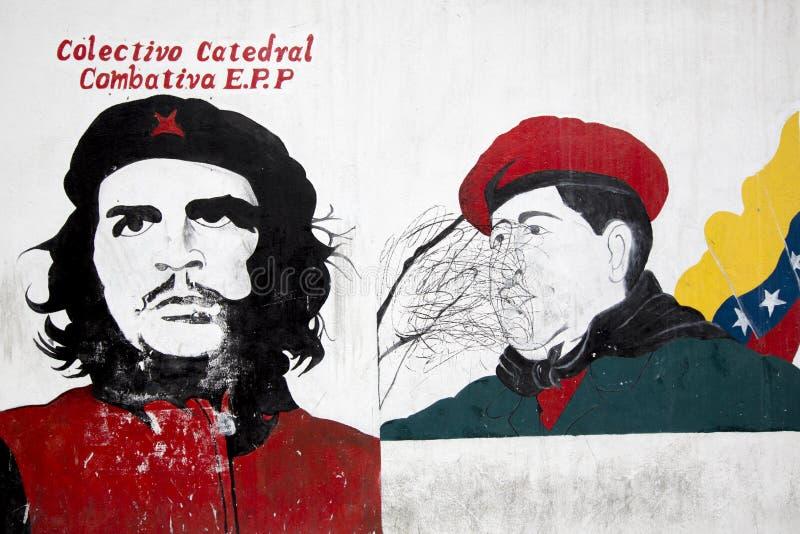 乌戈・查韦斯总统和切・格瓦拉街道画  加拉加斯 Vene 免版税库存照片