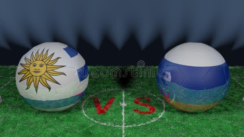 乌拉圭对俄罗斯 2018年世界杯足球赛 原始的3D图象 向量例证