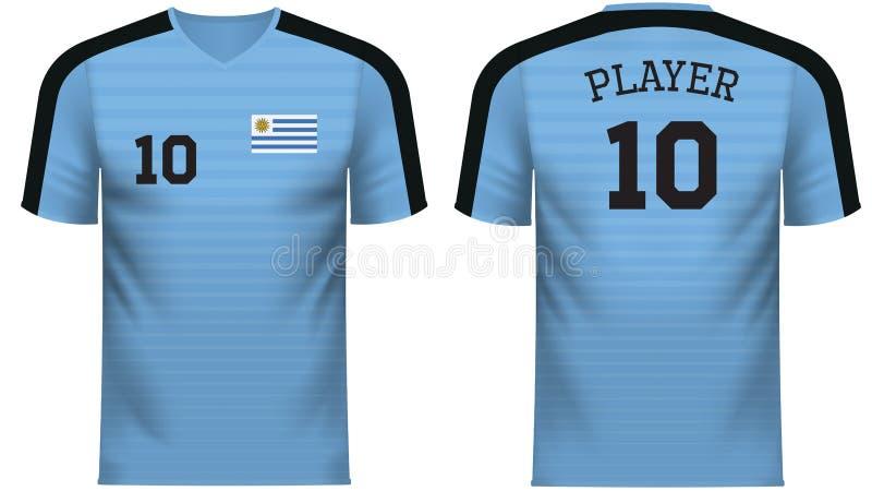 乌拉圭爱好者炫耀在普通国家颜色的T恤杉 皇族释放例证