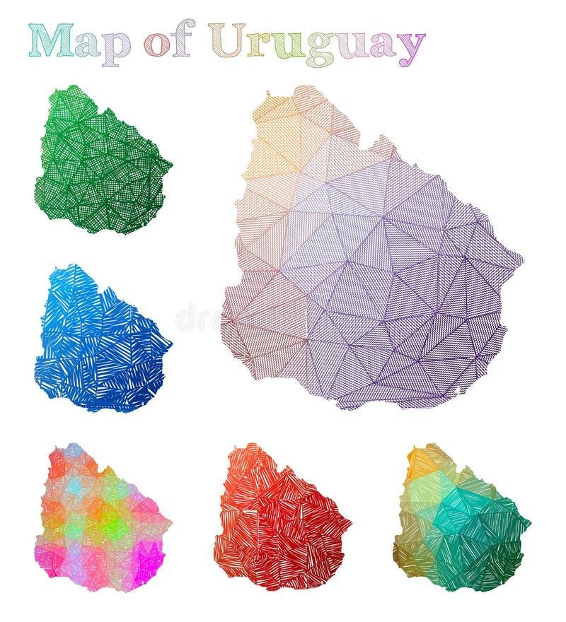 乌拉圭的手拉的地图 库存例证